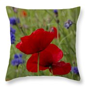 Poppies And Cornflowers Throw Pillow