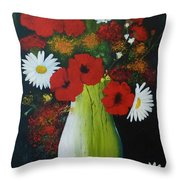 Poppies And Daisies Throw Pillow