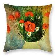 Poppies And Daisies Throw Pillow by Odilon Redon
