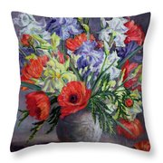 Poppies And Irises Throw Pillow by Anthea Durose