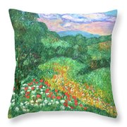 Poppies And Lace Throw Pillow