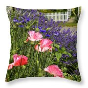 Poppies And Lavender Throw Pillow