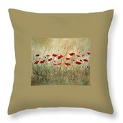 Poppies And Wild Flowers Throw Pillow