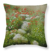 Poppies And Wildflowers Throw Pillow