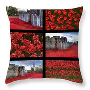 Poppies At The Tower Collage Throw Pillow