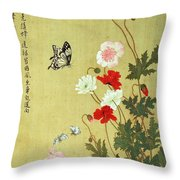 Poppies, Butterflies And Bees Ink And Colour On Silk Throw Pillow