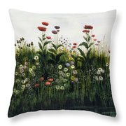 Poppies, Daisies And Thistles Throw Pillow