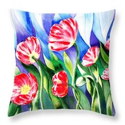 Poppies Field Square Quilt  Throw Pillow