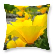 Poppies Flowers Meadow Art Prints Orange Throw Pillow