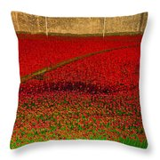 Poppies For The Fallen Throw Pillow by Andrew Lalchan