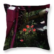 Poppies Growing Amongst Farm Machinery In A Farmyard Near Pocklington Yorkshire Wolds East Yorkshire Throw Pillow