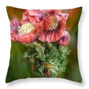 Poppies In A Poppy Vase Throw Pillow
