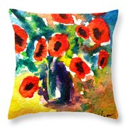 Poppies In A Vase Throw Pillow