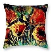Poppies In Gold Throw Pillow by Zaira Dzhaubaeva