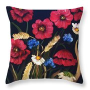 Poppies In Oils Throw Pillow