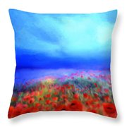 Poppies In The Mist Throw Pillow