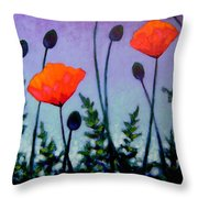 Poppies In The Sky II Throw Pillow by John  Nolan
