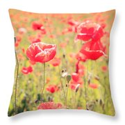 Poppies In Tuscany - Italy Throw Pillow