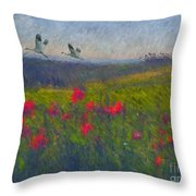 Poppies Of Tuscany Throw Pillow