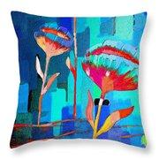 Poppies On Blue 1 Throw Pillow