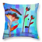 Poppies On Blue 3 Throw Pillow