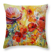 Poppies On Fire Throw Pillow