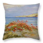 Poppies On The Beach Throw Pillow