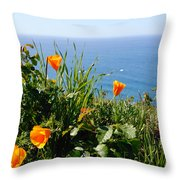 Poppies On The Pacific Throw Pillow