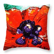 Poppy 4 Throw Pillow by Vickie Warner