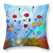 Poppy And Dragonfly Throw Pillow