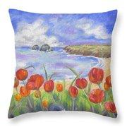 Poppy Beach Throw Pillow