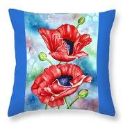 Poppy Duet Throw Pillow