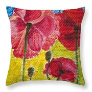 Poppy Family Throw Pillow