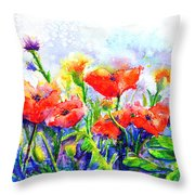 Poppy Fields Throw Pillow