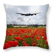 Poppy Fly Past Throw Pillow