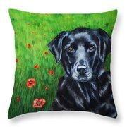 Poppy - Labrador Dog In Poppy Flower Field Throw Pillow