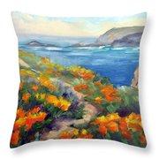 Poppy Path Pt. Lobos  Throw Pillow by Karin  Leonard
