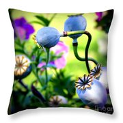 Poppy Pods And Curvy Stems. Throw Pillow