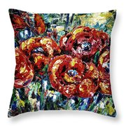 Poppy Red Flowers Throw Pillow