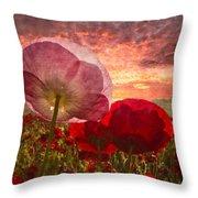 Poppy Sunrise Throw Pillow by Debra and Dave Vanderlaan
