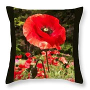 Poppy Watercolor Effect Throw Pillow