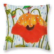 Poppy With Piper  In The Rain Throw Pillow