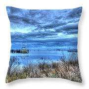 Poquoson Yacht On Stormy Morning Throw Pillow