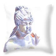 Porcelain Maiden In Watercolor Throw Pillow
