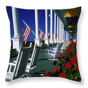 Porch Of The Grand Hotel, Mackinac Throw Pillow