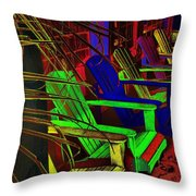Neon Porch Perches Throw Pillow