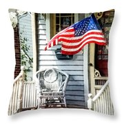 Porch With Flag And Wicker Chair Throw Pillow