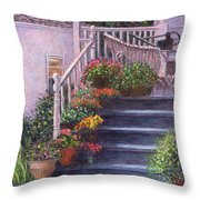 Porch With Watering Cans Throw Pillow
