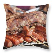 Pork Chops And Barbecued Sausages Throw Pillow