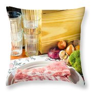 Pork Ribs With Vegetable Throw Pillow